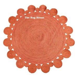 Rug Natural Jute Handmade Round 3x3 Feet Carpet Modern Reversible Area Rag Rug