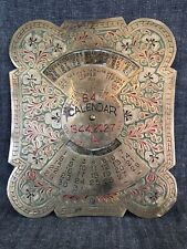 Vintage 84yrs Brass Wall Calendar