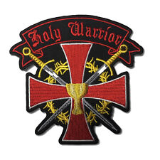 Embroidered Holy Warrior Cross Swords Sew or Iron on Patch Biker Patch