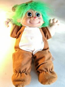 "Vintage Russ Troll 12"" Cloth Doll in Reindeer Outfit Green Hair  #2335"
