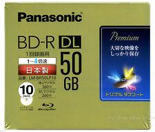 10 Panasonic 3D Blu ray Disc Bluray DVD 50GB BD-R DL 4X Speed Full Printable