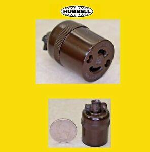 Vintage Hubbell Locking Plug, Midget, 15 amp, 125V, Ml-1R