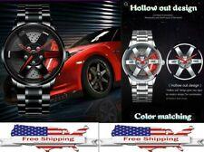 Men Rim Hub Watch Sports Car Wheel Design Stainless Steel Waterproof Wristwatch