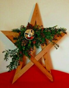 New Large Wooden Star Sleighbell Wall Hanging Christmas Holiday House Decor