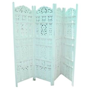 MADE TO ORDER Hand Carved Indian 4 Panel Partition Screen Room Divider Blue L