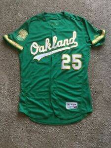 GAME USED JERSEY 2018 OAKLAND ATHLETICS STEPHEN PISCOTTY # 25 Green Alt.