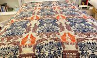 ntique Rare Hand Woven Jacquard Coverlet Bedspread w/ Birds & Architecture WW159