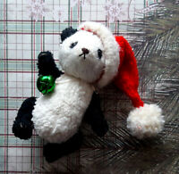 OOAK teddy bear stuffed Panda with Santa hat. Panda bear. OOAK art doll