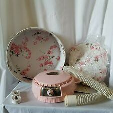 Dominion Bonnet Pink Portable Hair Dryer With Travel Case Tested Vtg Model 1815