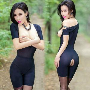 Women's Lingerie Dew chest Nightwear Babydoll Sleepwear Open Crotch Bodysuit