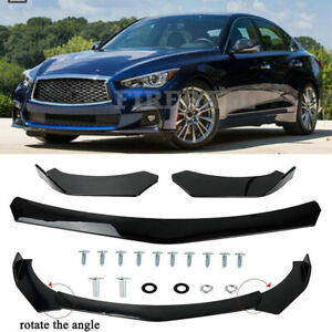 For Infiniti Q50 Sport Glossy Black Front Bumper Lip Splitter Spoiler Diffuser