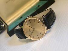 BAUME & MERCIER 18K solide 750 or 1976 Homme Gents vintage watch + DOCUMENTS + Boîte