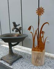 Ostergruß Hase Dekoration Osterhase Ostern Gartendeko 28,5 cm rost Metall Holz
