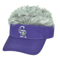 MLB Colorado Rockies Creed Flair Purple Grey Hair Visor Faux Fur  Hat Cap