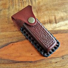 """IMPRINTED BROWN LEATHER Belt Pouch SHEATH For Folding Knife or Tool Up To 4"""""""