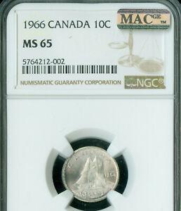 1966 CANADA 10 CENTS NGC MS-65 PQ BLAST WHITE MAC SPOTLESS .