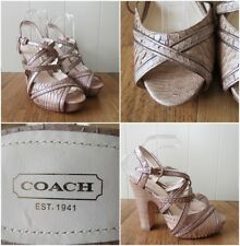 New Coach Karolina Strappy Platform Block Heel Sandals. UK Size 7 US Size 9B