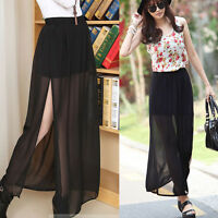 Modern Ladies See Through Maxi Long Skirt Pleated Sheer High Side Chiffon Black