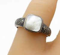 925 Sterling Silver - Vintage Mother Of Pearl & Marcasite Band Ring Sz 8- R14123