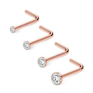 Nose Stud Rose Gold Clear Gem L-Shape Pin Straight Piercing 1.5mm 2mm 2.5mm 3mm