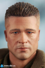 """DiD Donald WW2 2nd Armored Div. """"Hell on Wheels"""": Head Only -Brad Pitt 1/6 scale"""