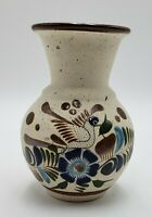 Tonala Mexican Hand Painted Sandstone 6 In. Vase Pottery Bird Flower Green Blue