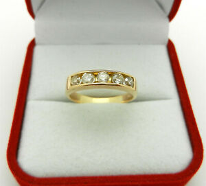 Anniversary Band Ring 18k Yellow Gold 5-stone Natural Diamonds 0.55 tcw size 7.5