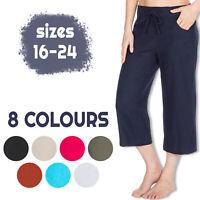 Metzuyan Womens Cropped Linen Capri Pants 3/4 Summer Shorts Plus Size 16-24 UK