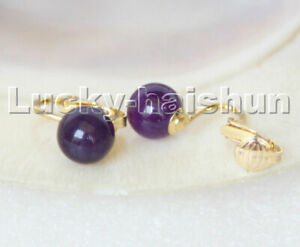 AAA natural 10mm round purple amethyst beads Earrings clip c305