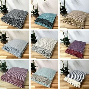 Lambswool Luxury Throw Small Scale Check Design Various Colours Ideal Gift