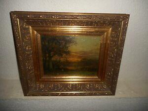 Antique oil painting,{ J.J. van der Stap,( 1874 - 1940), Beautiful sunset }.
