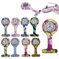 Fashion Patterned Silicone Nurses Brooch Tunic Fob Pocket Watch Stainless Dial