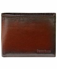 $88 Perry Ellis Men Brown Leather Billfold Card Case Bifold Photo Id 6cc Wallet