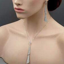 925 Sterling Silver CZ Drop Pendant Necklace Dangle Earrings Jewelry Set 03934