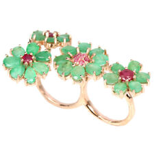 NATURAL GREEN EMERALD & RED RUBY STERLING 925 SILVER MULTI FINGER RING 5-5.75