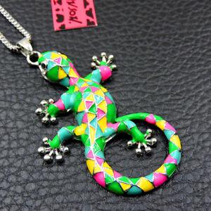 New Multi-Color Enamel Cute Lizard Pendant Betsey Johnson Sweater Necklace