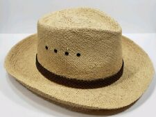46eb438f Dorfman Pacific Tan Straw Hat with Brown Braided Leather Band