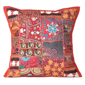 Cushion Embroidered Cotton Handmade Cover Pillow Indian Kantha Patchwork Throw