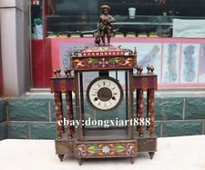 European Retro Bronze cloisonne cowboy Dog Mechanical clockwork Clock Timepiece