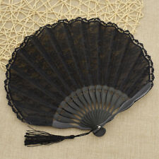 Black Lace Hand Fan With Tassel Portable Pocket Folding Gift Floral Edge Retro