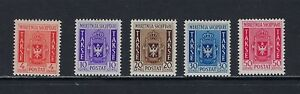 1940 Albania Scott J40-J44 postage due Issued Under Italian Dominion MLH--fresh
