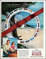 1953 Bermuda beach surf Hickok elastic belts couple vintage photo print Ad adL43