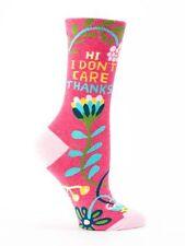 Women's Crew Socks, Hi, I Don't Care, Thanks, Blue Q, Cotton, Size 5-10, Funny