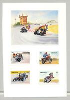 Grenada #1256-1260 Motorcycles 4v & 1v S/S Imperf Proofs on Card