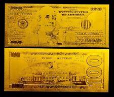 BILLETE 100$ US DOLLAR REPLICA ORO GOLD 24K