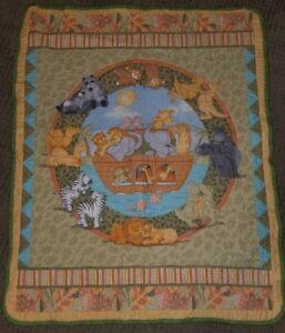 Handmade Kathy Heck Noah's Ark Machine Quilt Baby Crib Animals #3178