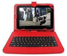 Premium QWERTY Keyboard Folio Case in Red for Motorola Xoom & Xoom 2