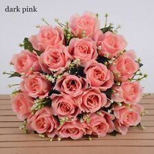 New Listing18 Heads Silk Rose Artificial Flowers Fake Bouquet Wedding Home Party Decoration