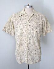 Vtg 70s Sears Mod Weird Geometric Floral Swirls Polycotton Ss Camp Nerd Shirt M