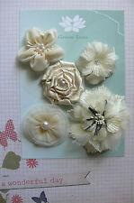 DAMASK CREAM Fabric Satin Silk Organza 5 Flower Mix 45-75mm across Green Tara